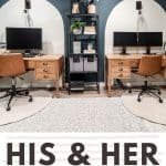 shows his and hers wooden desks in wall painted with Midnight in NY Behr Paint color with white color block shapes behind furniture and white rugs with overlay text that says his and her home office space