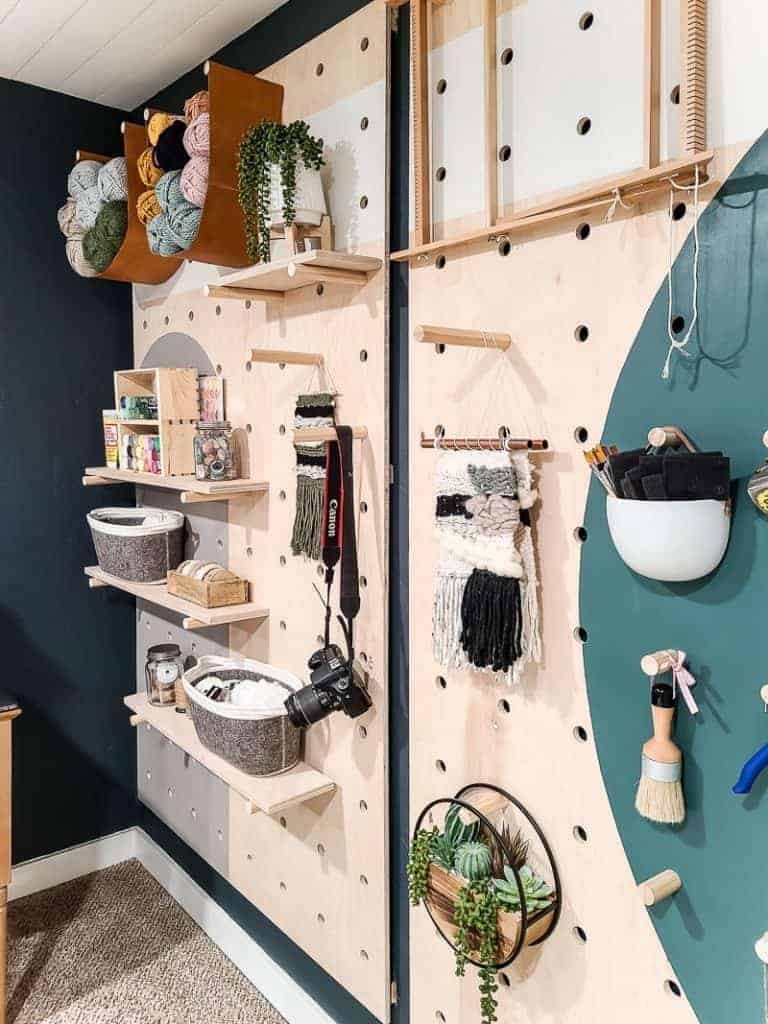 Styled pegboard with craft supplies
