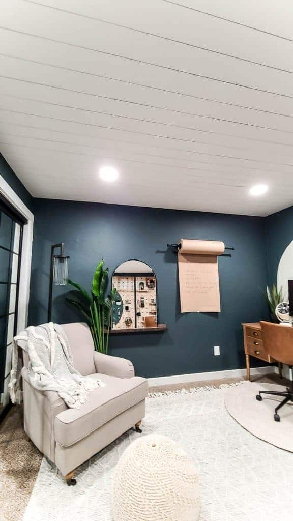 Finished renovation photo with completed shiplap ceiling