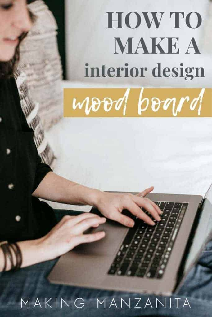 A person sits on a bed typing on a computer with overlay text says How to make a interior design mood board