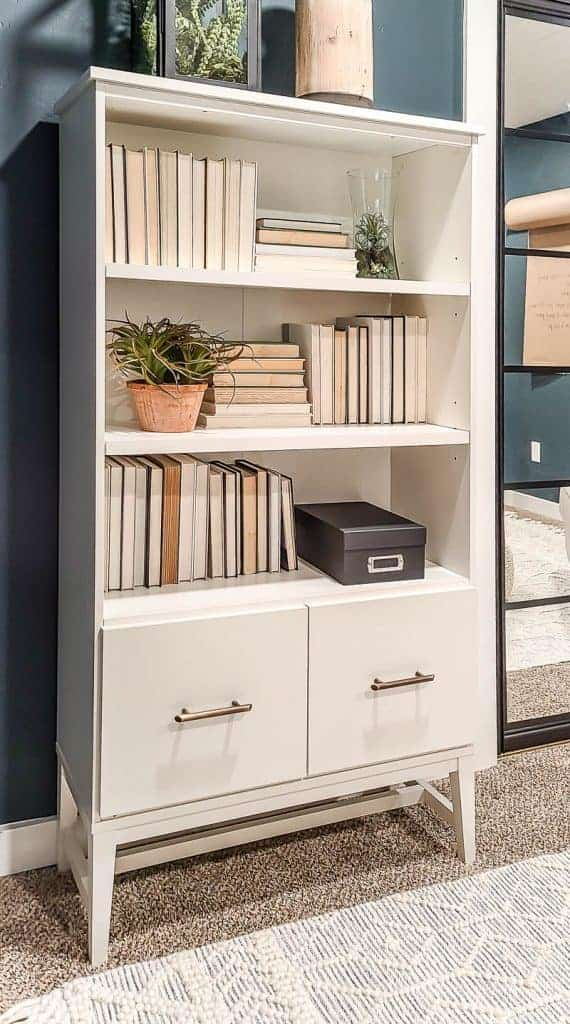 shows a white bookcase with 2 drawers for filing cabinet with books and plants with dark teal walls in home office