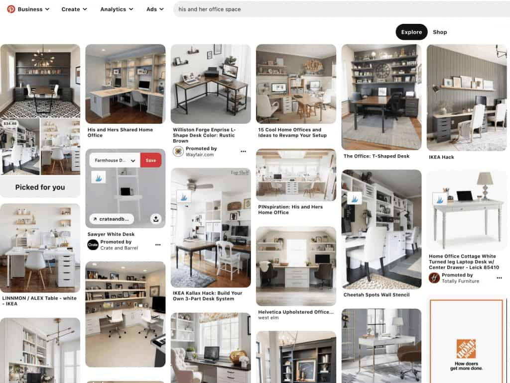 screenshot of a pinterest search for his and her office spaces