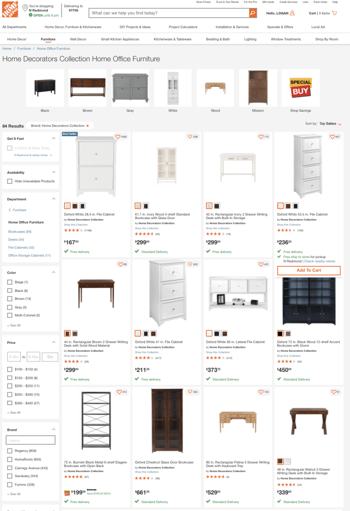 screenshot of a home depot website on the home office furniture section