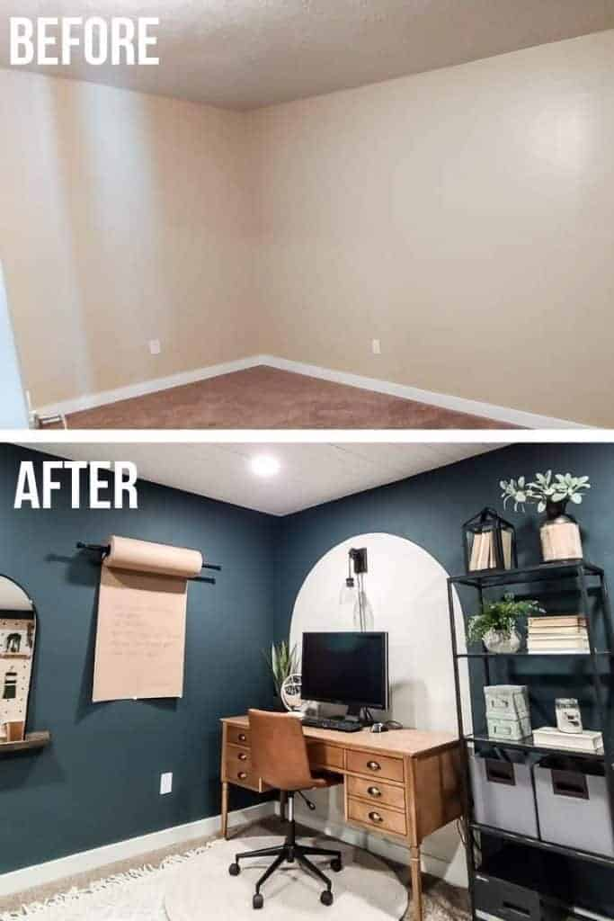 shows two before and after photos of a home office space from a dark brown room with no windows to a white arch painted on wall with a dark blue green wall paint with a wood desk and leather chair with white rug