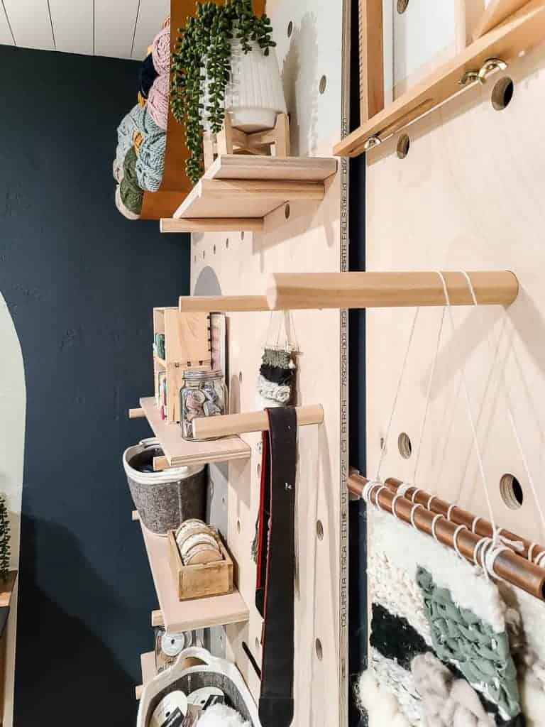 Placing items to hang and stack on pegboard