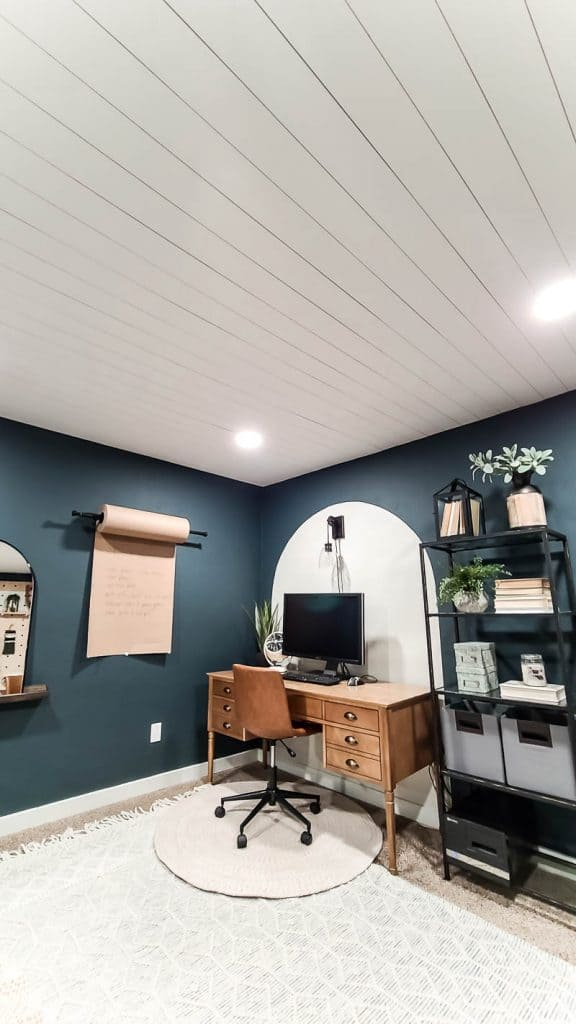 Office renovation with shiplap ceiling