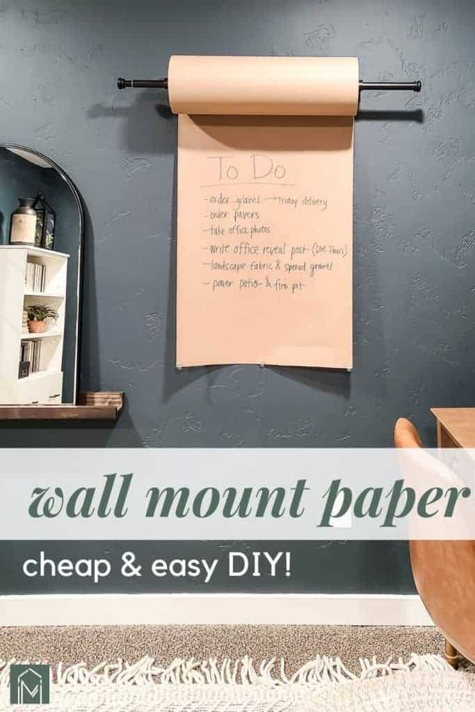 shows the wall mounted paper roller with overlay text that says wall mounted paper, cheap and easy