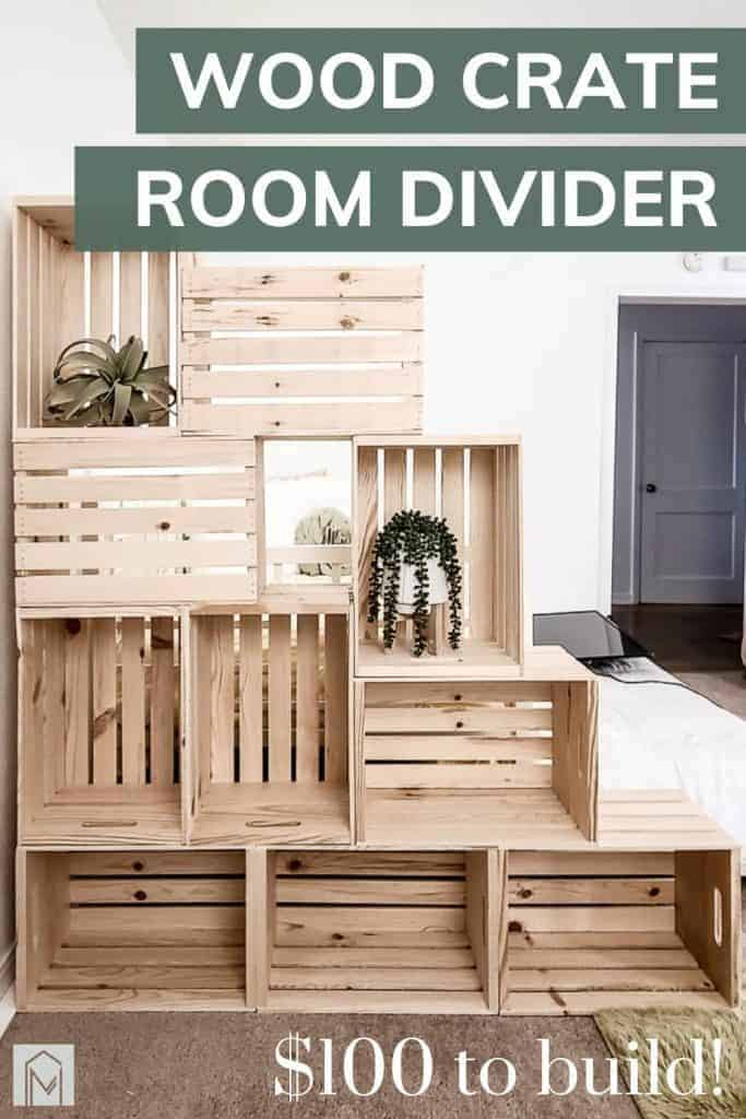 shows 10 crates stacked on each other with overlay text that says wood crate room divider