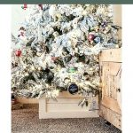 shows the Christmas tree and wooden box with overlay text that says DIY wooden Christmas tree stand