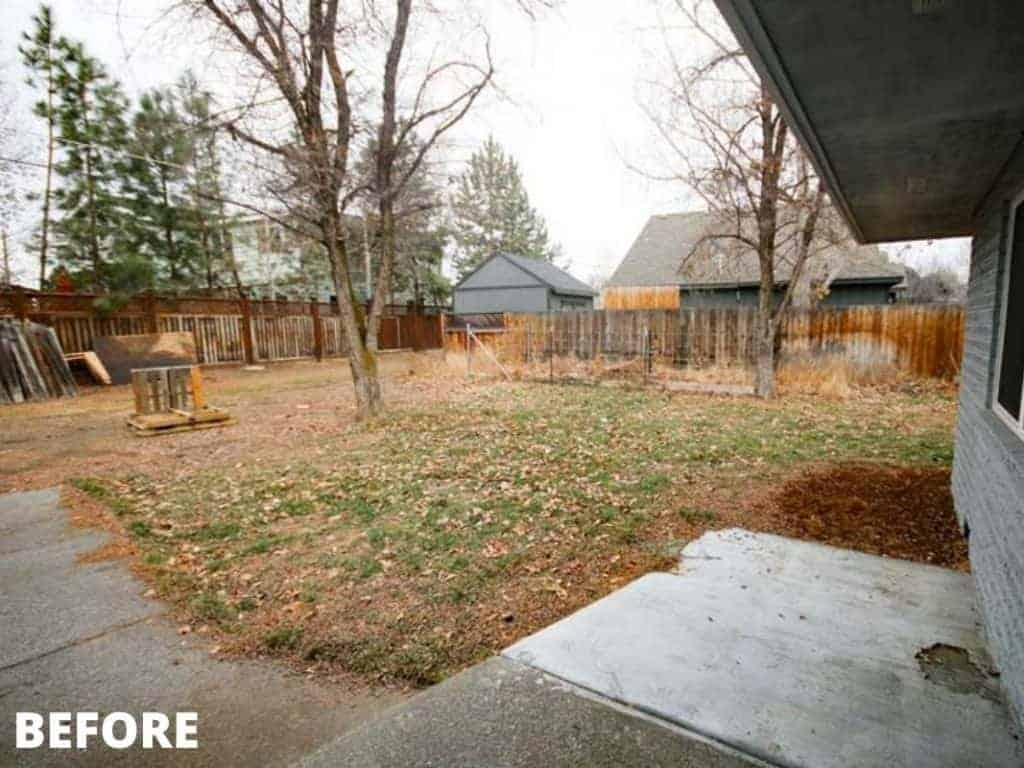 shows another angle of the backyard before renovation