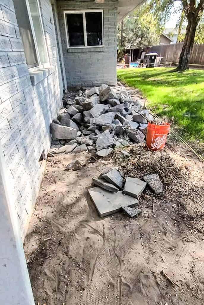 Broken up concrete from jack jammer in backyard