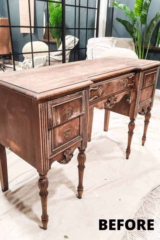 shows a vintage wood desk with overlay text that says before