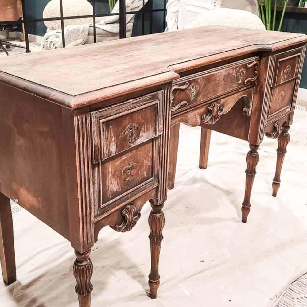 shows a wood vintage desk