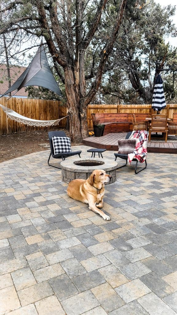 finished patio is staged with chairs, image shows hammock area and deck dining space, a dog lounges next to the fire pit