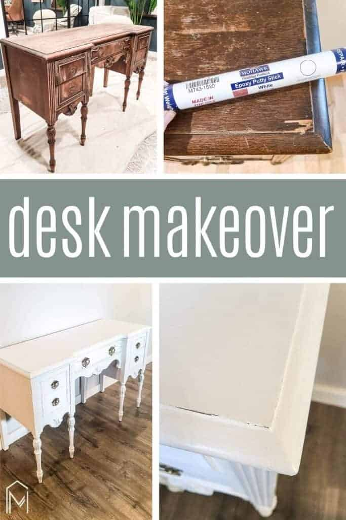 shows various stages of the tutorial for this desk makeover