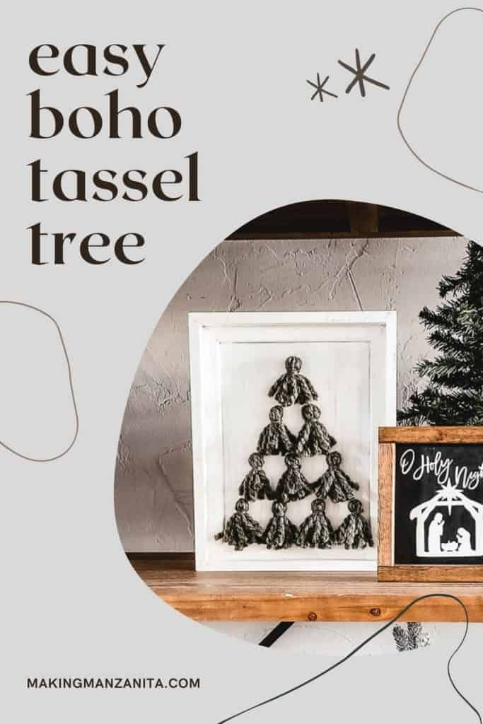 White frame with yarn tassels glued to it with text overlay that says easy boho tassel tree