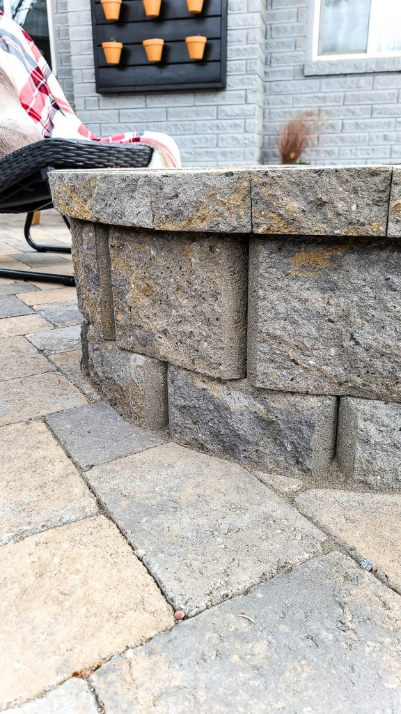 shows a side of the paver fire pit