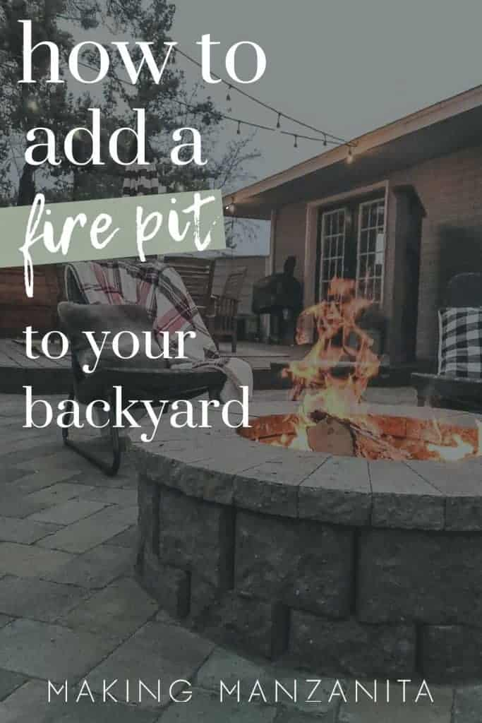 shows a paver firepit with overlay text that says how to add a fire pit to your backyard