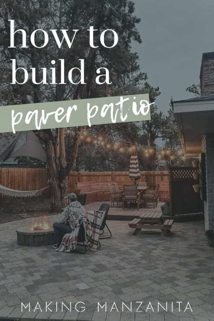 a man sits in front of a firepit on a patio with the text overlay that says how to build a paver patio