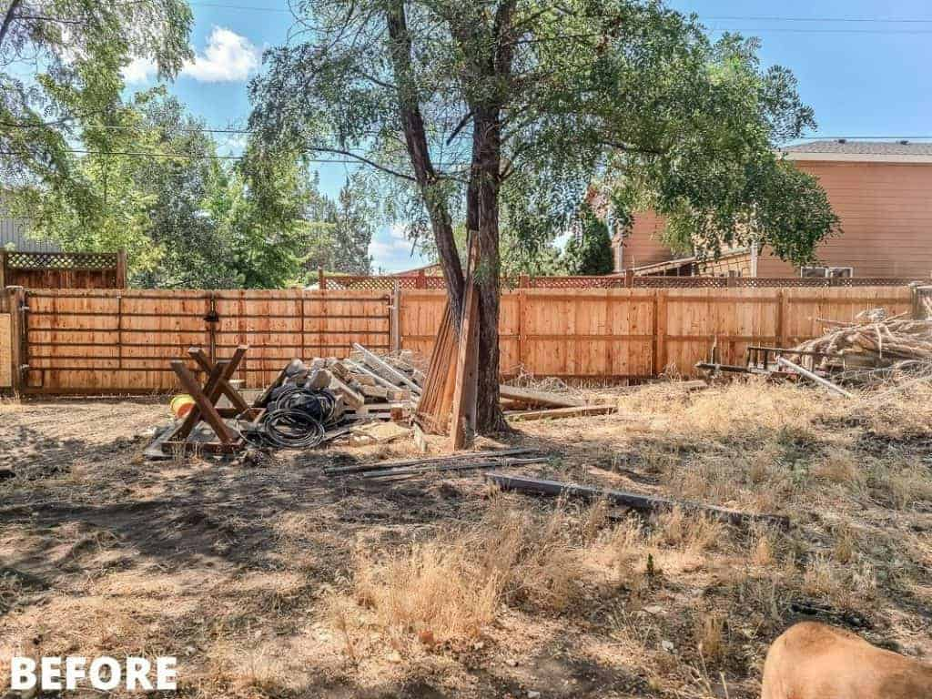 shows a before picture of backyard with dead weeds and trash