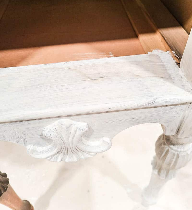 shows a painted section of the desk with chalk paint