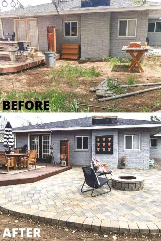 Before and after photos of the patio