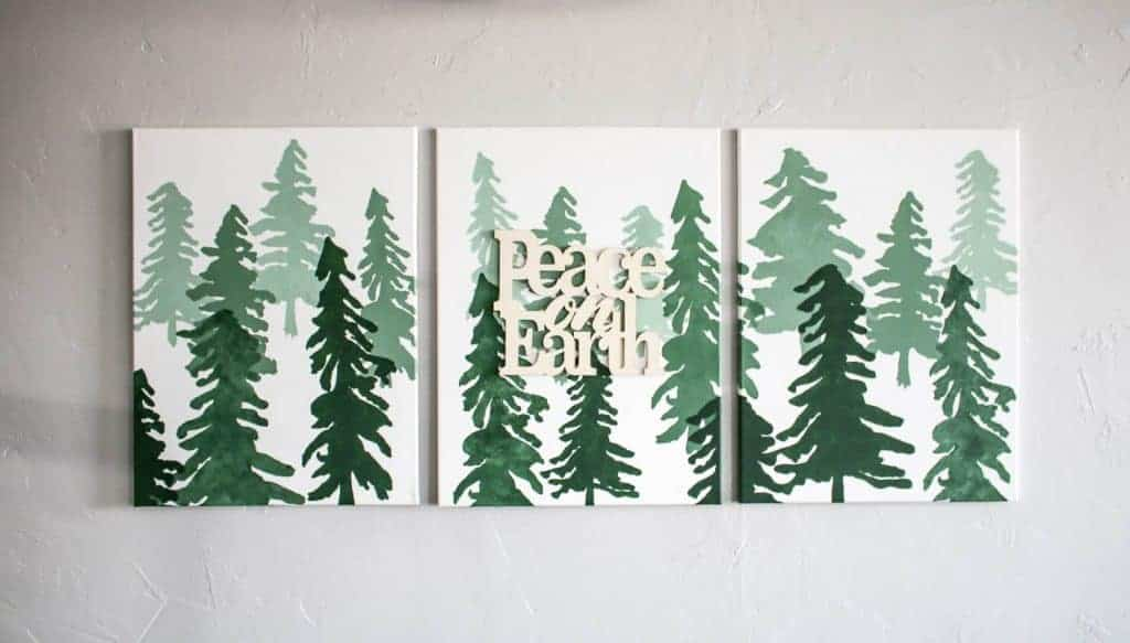 peace on earth ombre Christmas tree canvases on the wall