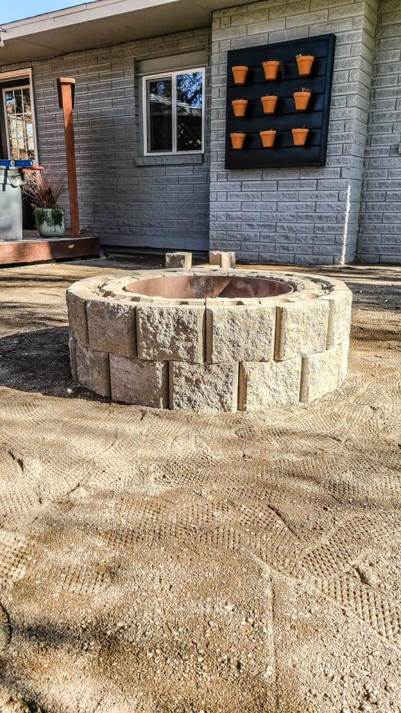 shows a paver fire pit