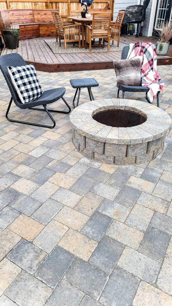shows the finished fire pit and patio