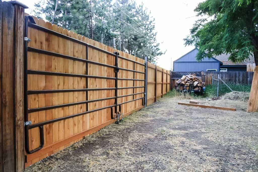 shows a new fence in the backyard