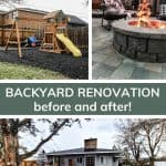 shows some of the after photos of the backyard renovation with overlay text that says backyard renovation before and after