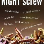 shows a bunch of screws laying in a pile with overlay text of the different names of screws and How to choose the right screw