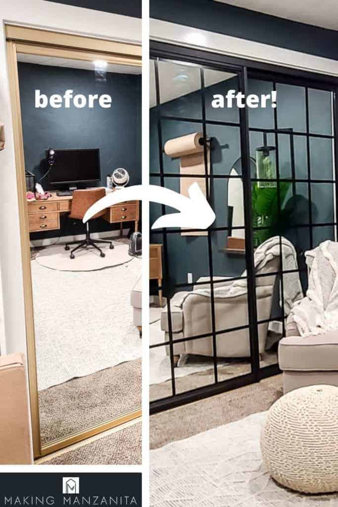 shows a before and after picture of the mirror in the office