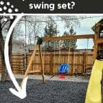swing set play ground with overlay text that says what should we put under our swing set?