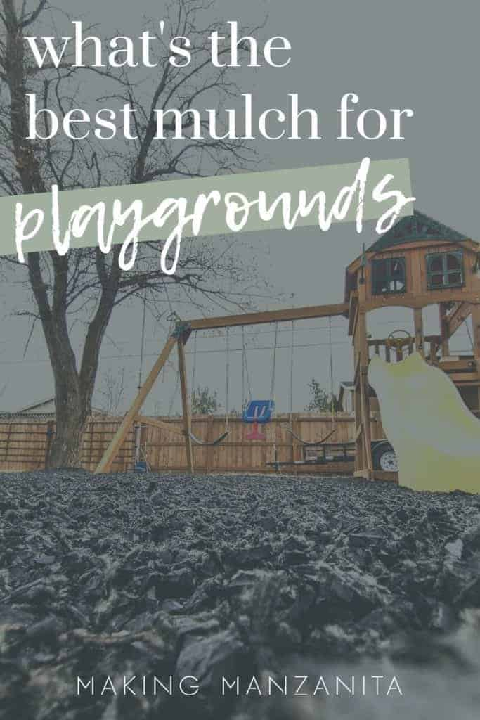 Playground with black rubber mulch on ground with dark overly and text that says what's the best mulch for playgrounds