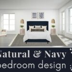 Modern coastal bedroom design with blue white gray and tan color schedule with furniture and decor rendering and text overlay that says natural navy bedroom design