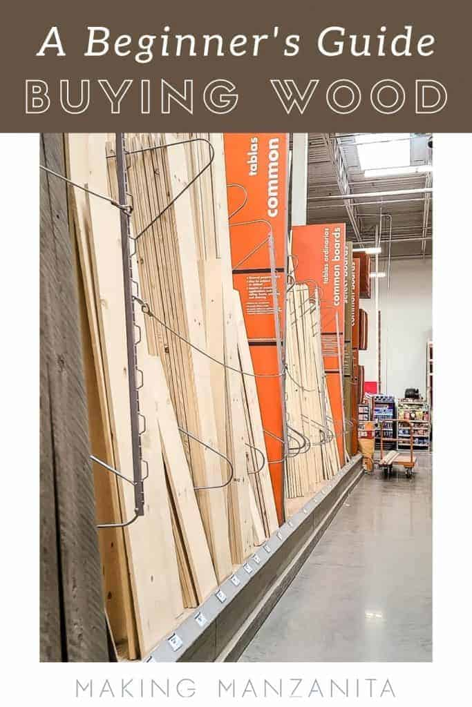 Image of lumber aisle at home improvement store with text overlay saying