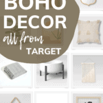 Grid of home decor products with text overlay that says boho decor all from target