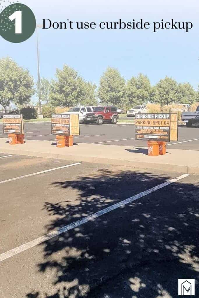 Image of curbside pickup area at home depot with overlay saying