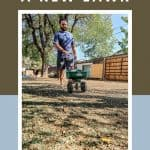Man spreading new grass seed over soil in backyard with a rotary spreader with text overlay that says how to seed a new lawn