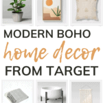Grid of home decor items with text overlay that says modern boho home decor from target