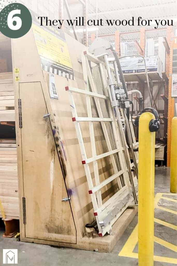 Image of large saw in home improvement store with text overlay saying