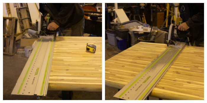 shows a track saw cutting large sheet of wood