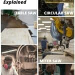 shows various types of saws and overlay text that says common types of saws explained