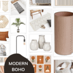 grid of home decor items with text overlay that says modern boho decor from amazon