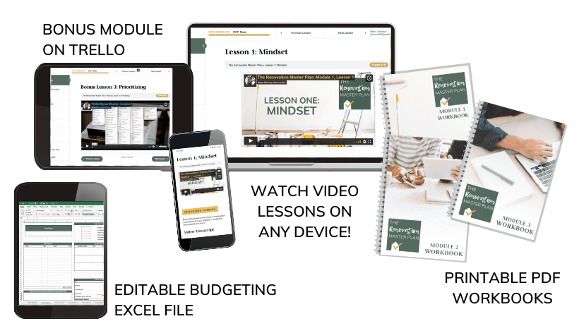 Mockups showing The Renovation Master Plan course materials with laptops, workbooks and tablet screens with text overlay that says bonus module on trello, editable budgeting excel file, watch video lessons on any device, and printable PDF workbooks