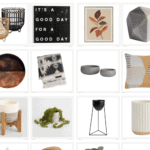 grid of home decor products with text overlay that says modern boho decor from world market under $100