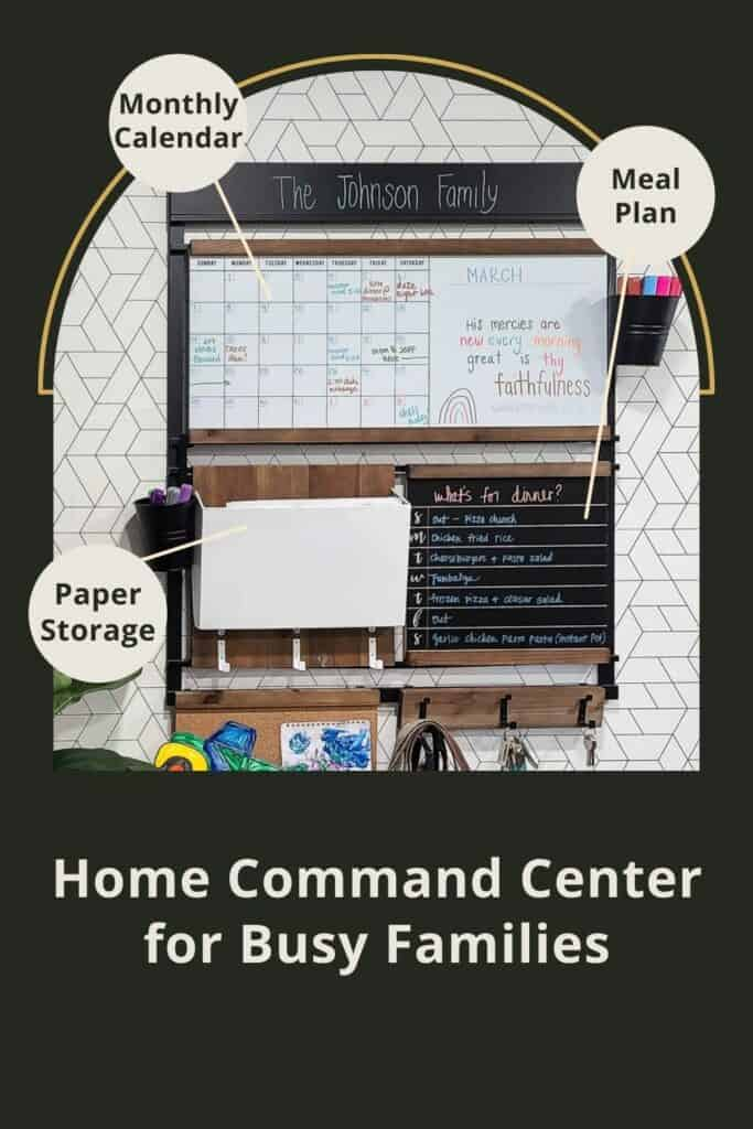 Customizable home command center graphic with text overlay that says Paper storage, monthly calendar, meal plan and home command center for busy families