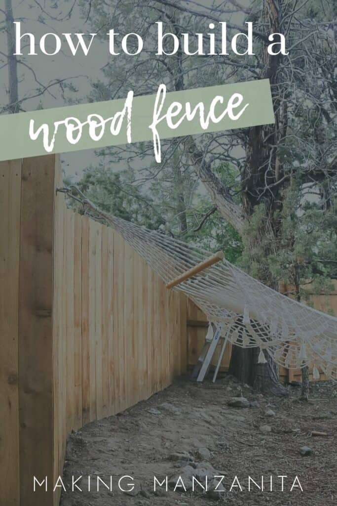 shows a wood fence with a tree and hammock with overlay text that says how to build a wood fence