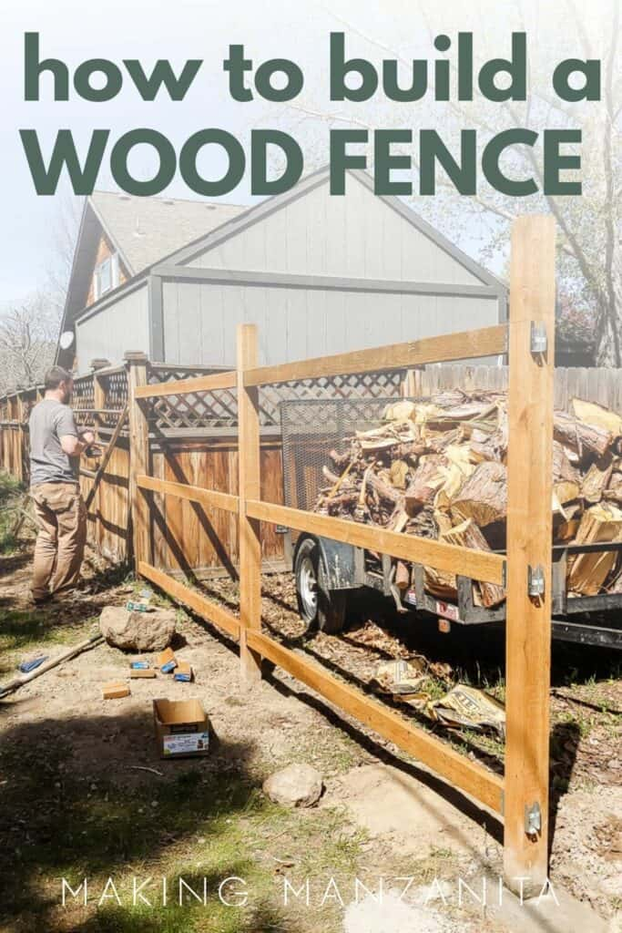 shows the frame work of a wood fence with overlay text that says how to build a wood fence